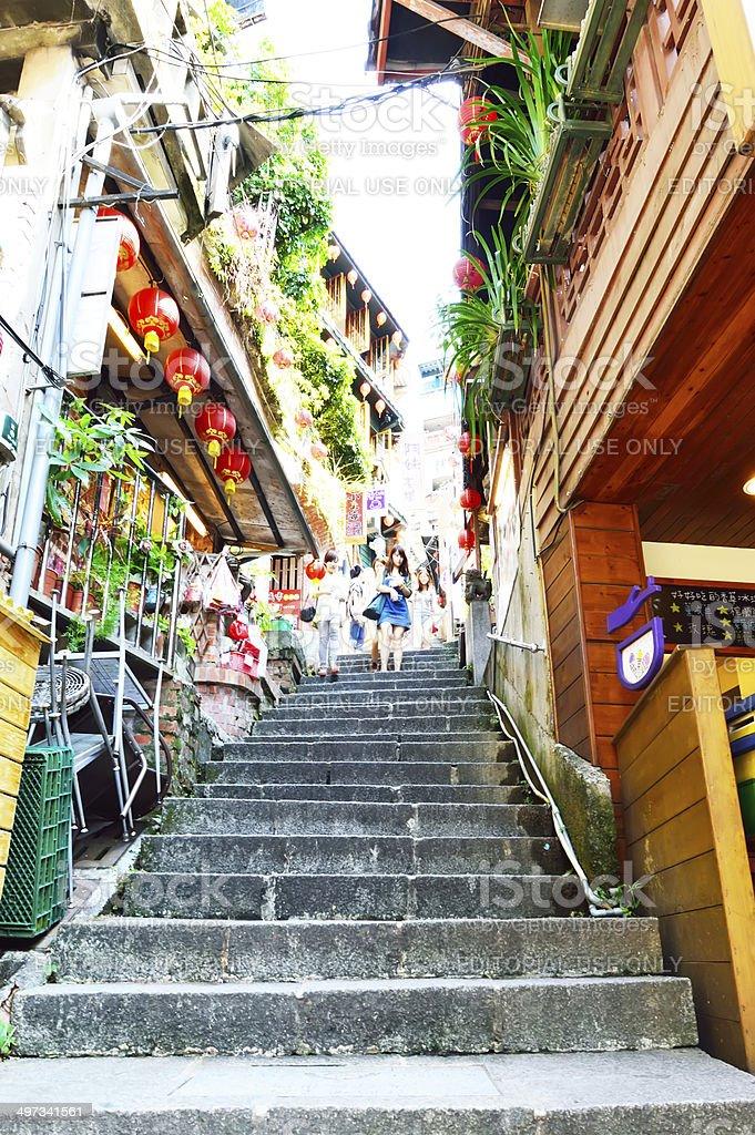 Tourists visiting the old Jishan Street in Jiufen, Taiwan stock photo
