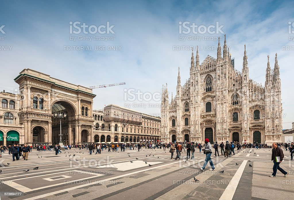 Tourists visiting the Piazza Duo stock photo
