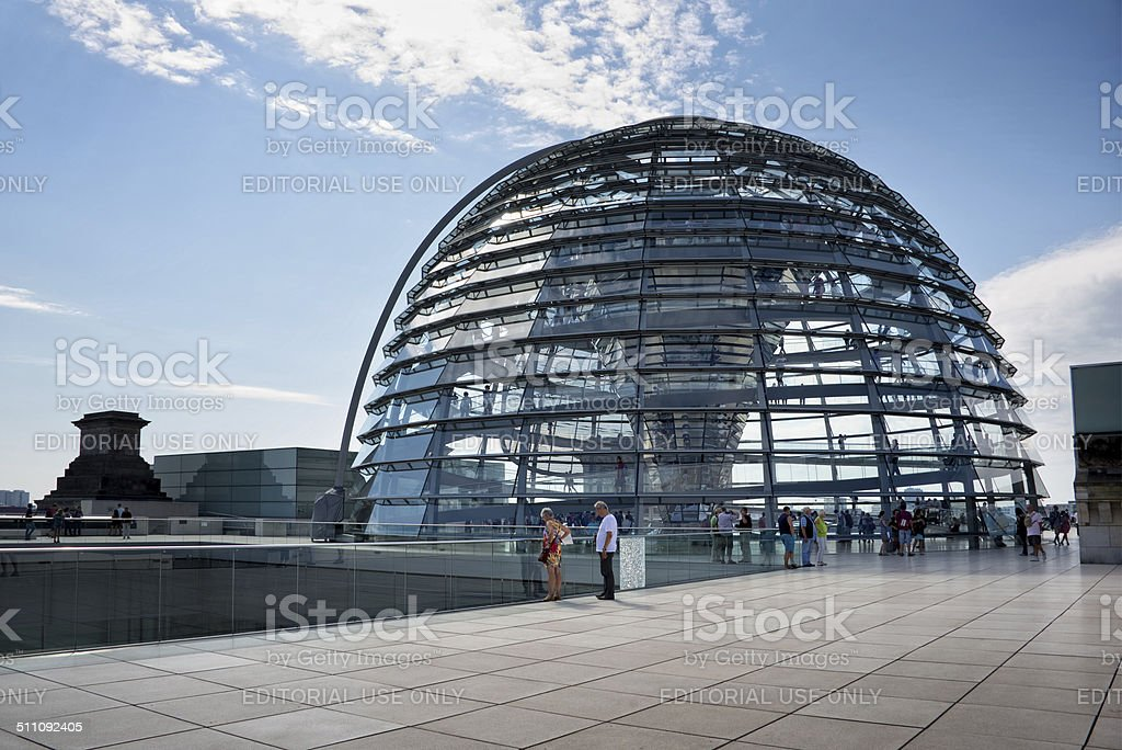 Tourists visiting the Reichstag dome, Berlin, Germany stock photo