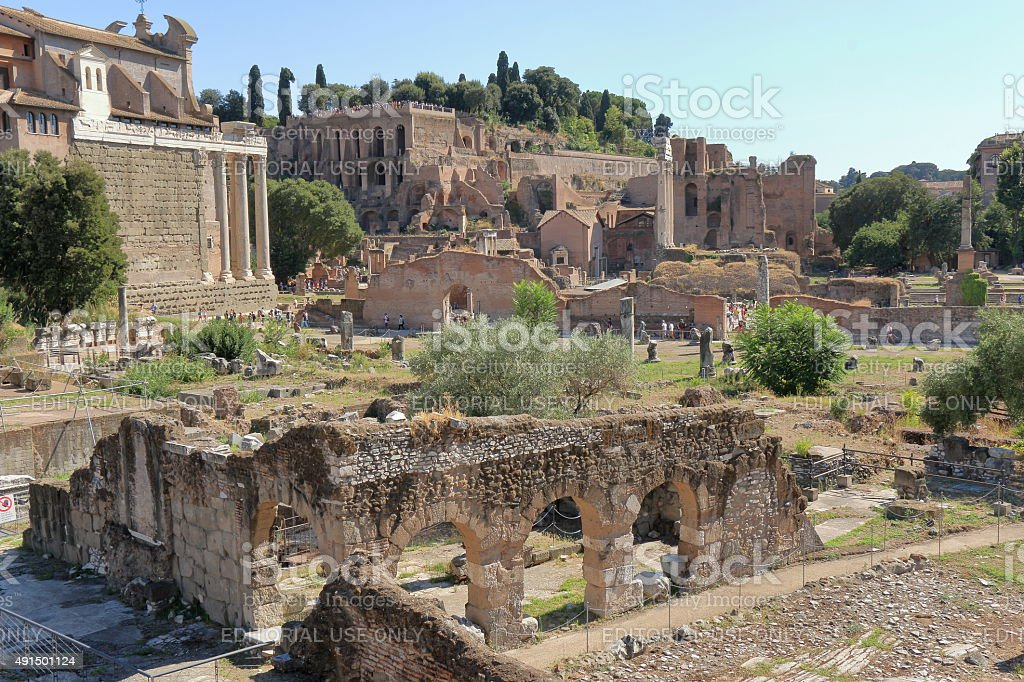 Tourists visiting the ruins of Foro di Nerva in Rome stock photo