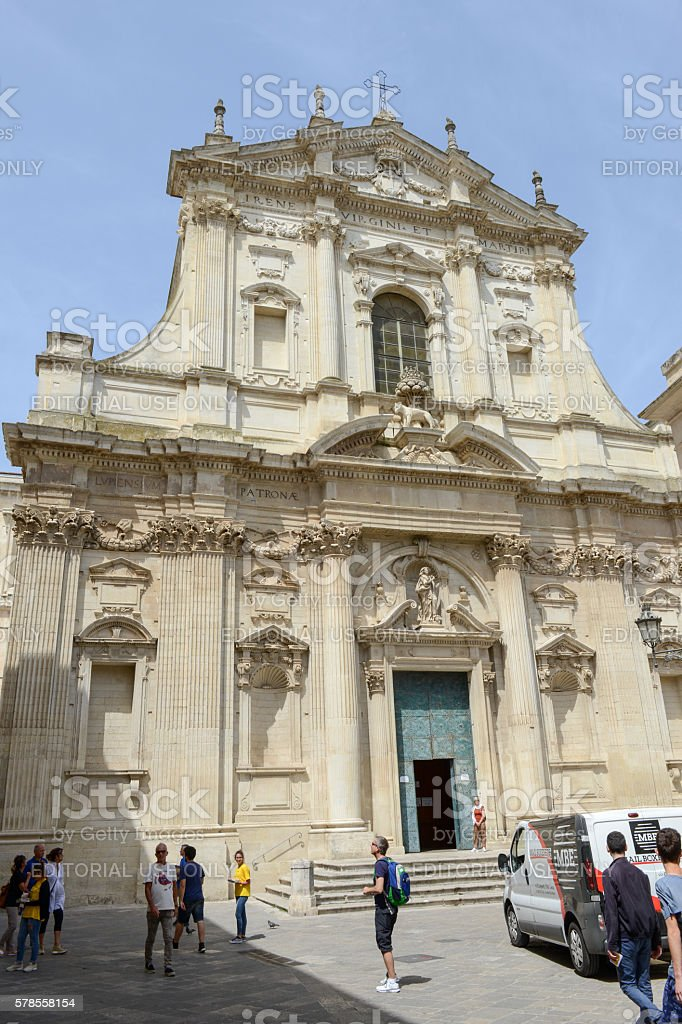 Tourists visiting the Saint Irene church on Lecce in Puglia stock photo