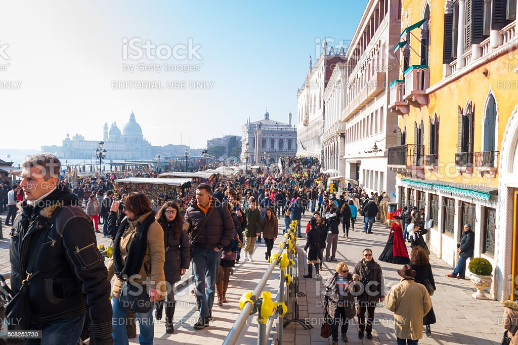 Tourists visiting the St. Mark's square -Venice, Italy stock photo