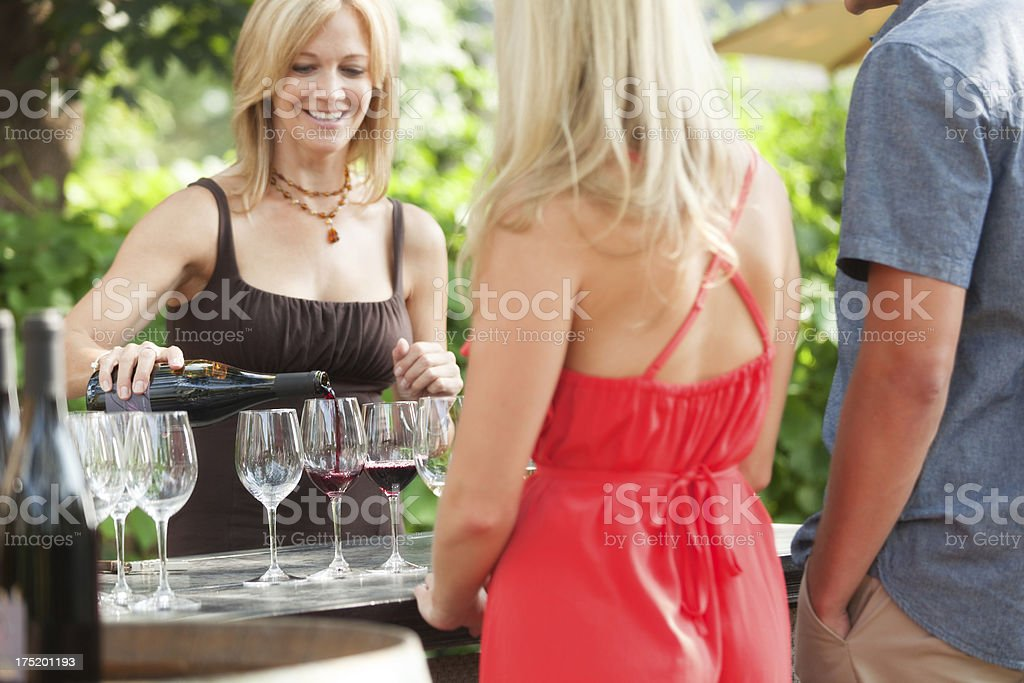 Tourists Visitors Outdoor Wine Tasting at the Winery Vineyard Hz royalty-free stock photo