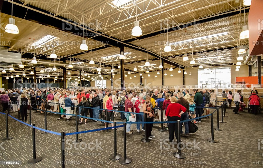 Tourists Waiting In Line To Check In For A Cruise To Alaska stock photo