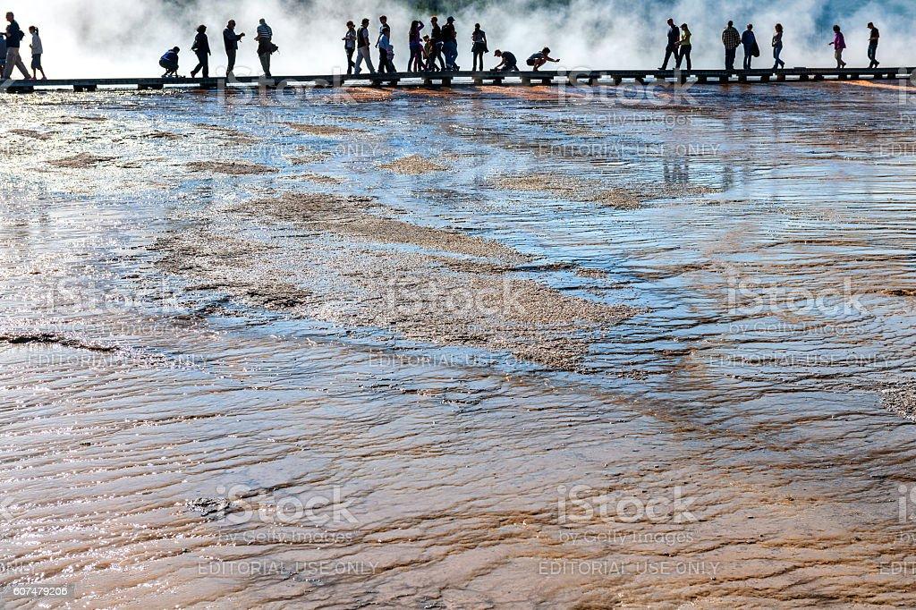 Tourists walk along a boardwalk,Grand Prismatic Springs,Yellowstone,Usa stock photo