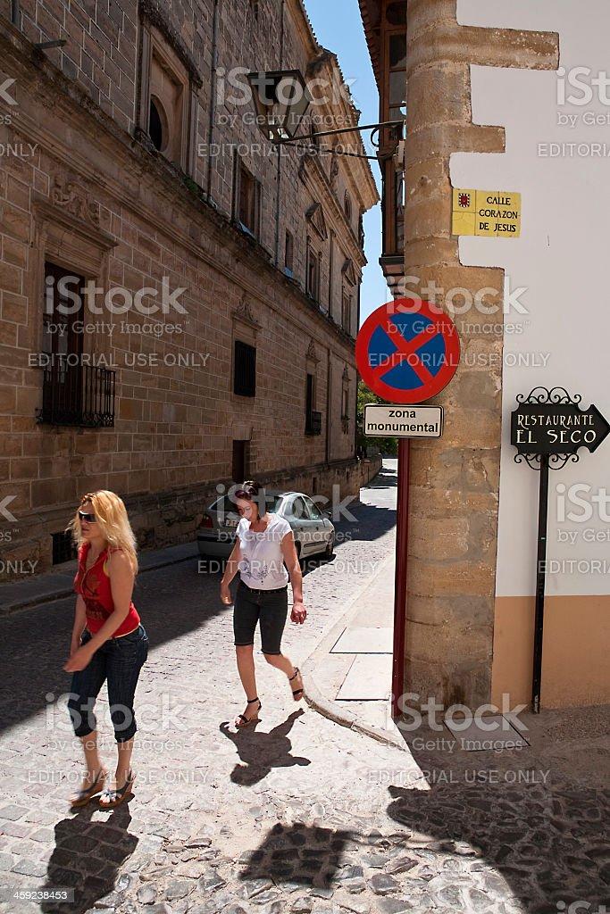 Tourists walk along the monumental area of Ubeda stock photo