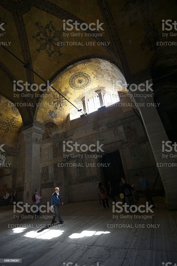 Tourists Walk Inside Hagia Sofia Mosque Museum Istanbul royalty-free stock photo