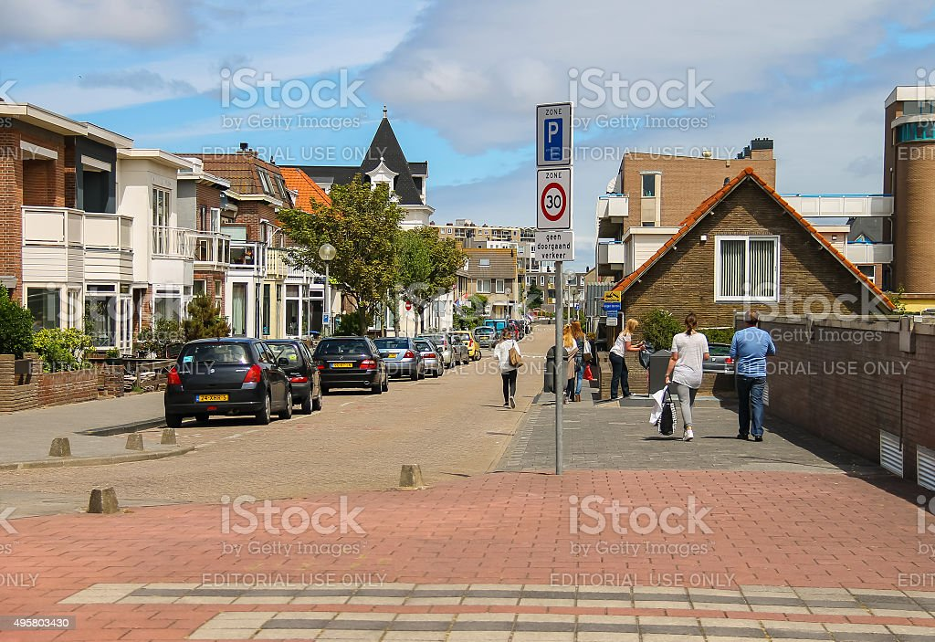 Tourists walking along the street in the center of Zandvoort stock photo