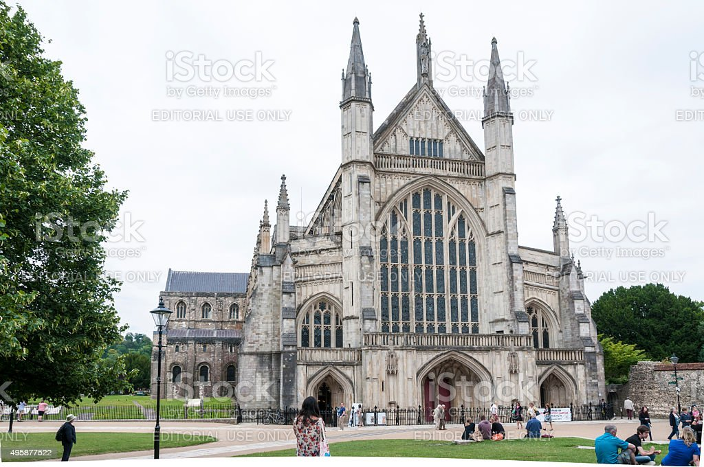 Tourists Walking Around A Cathedral stock photo