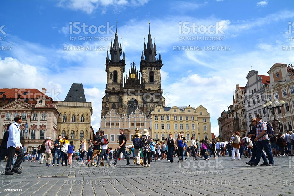 Tourists walking at Old town square, Prague, Czech Republic stock photo