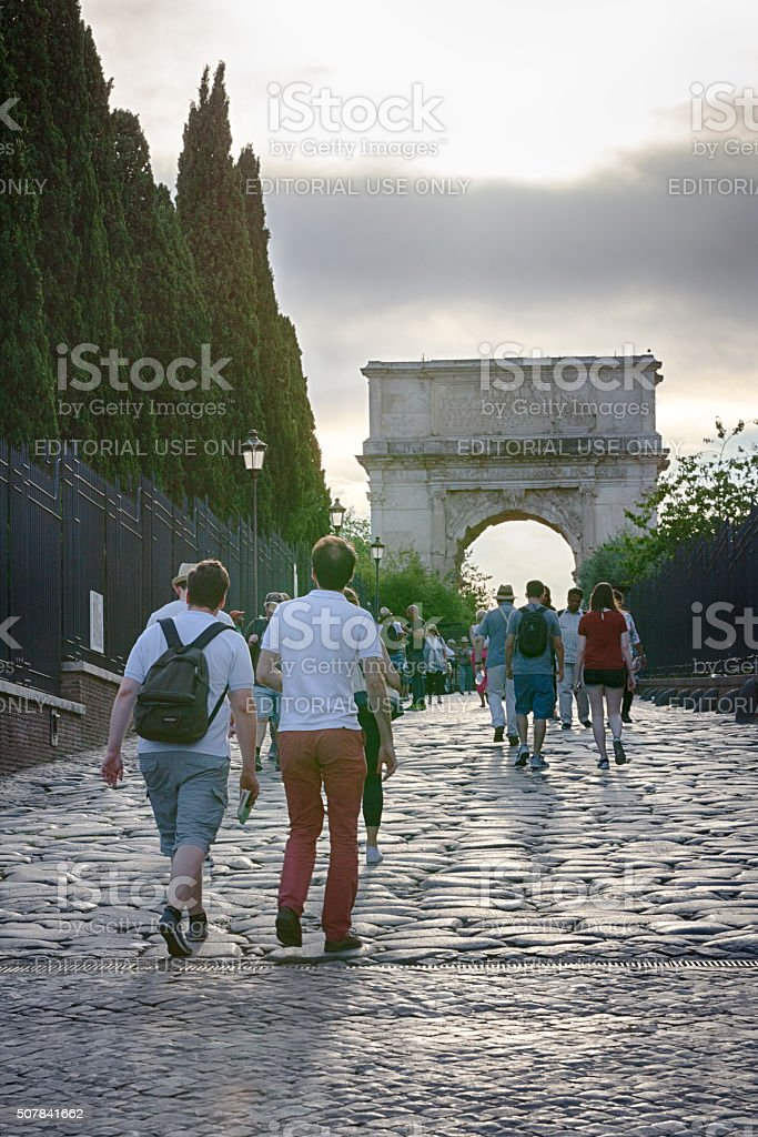 Tourists walking in the Roman Forum in Rome, Italy stock photo