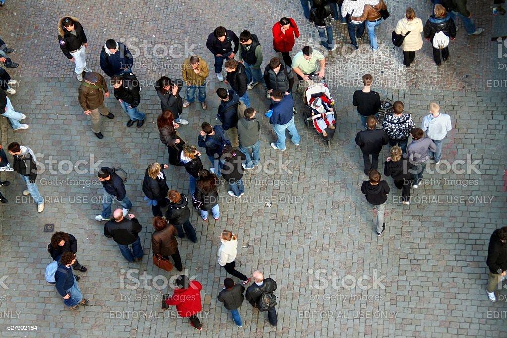 Tourists walking on Charles Bridge from above. Prague. Czech Republic. stock photo