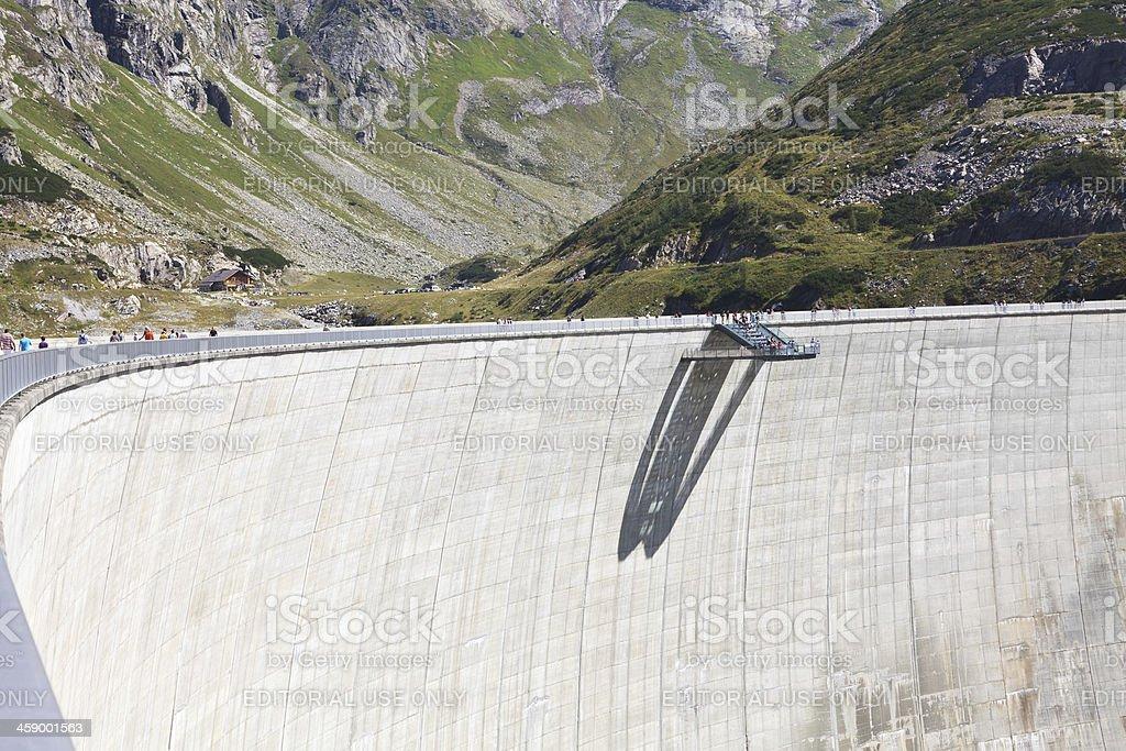 Tourists walking On Koelnbrein Dam stock photo