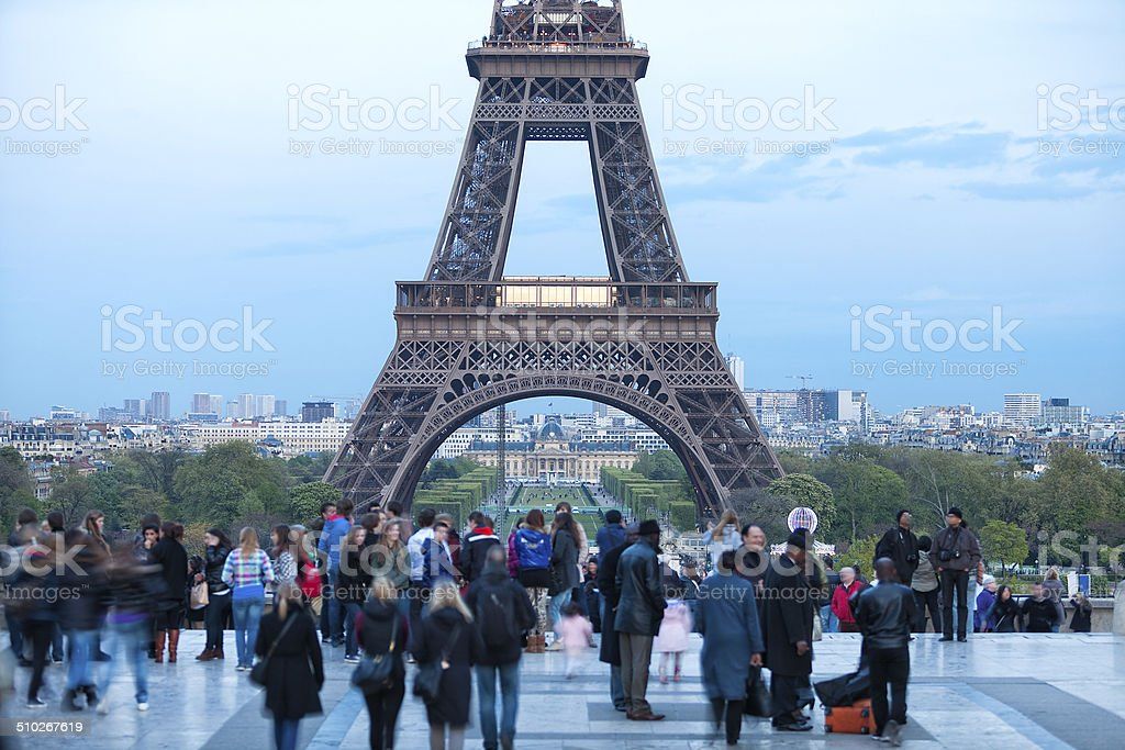 Tourists Watching Eiffel Tower From Trocadero, Paris, France stock photo
