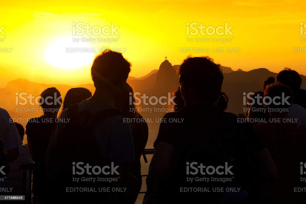 Tourists watching Rio de Janeiro sunset royalty-free stock photo