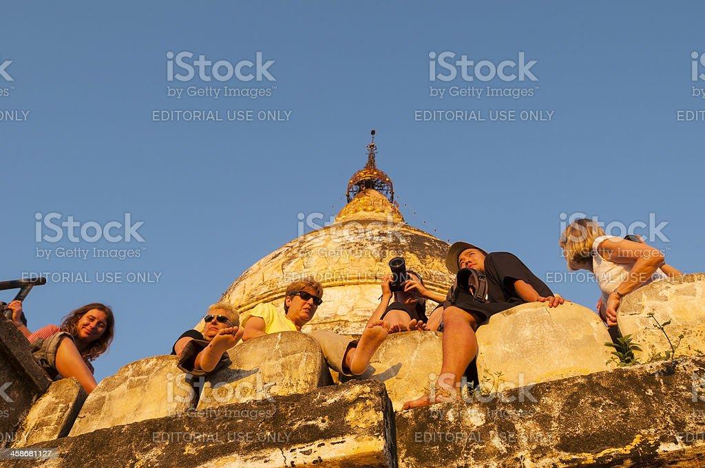 Tourists watching sunset in Bagan stock photo
