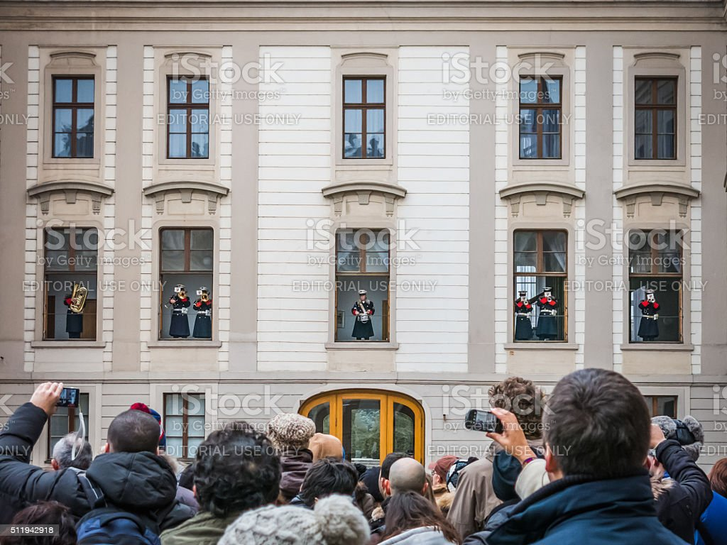 Tourists witness changing of the guard ceremony at Prague castle stock photo
