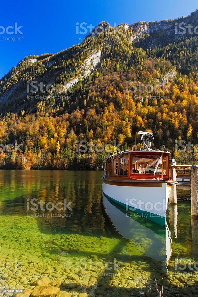Touristship at koenigssee berchtesgaden stock photo