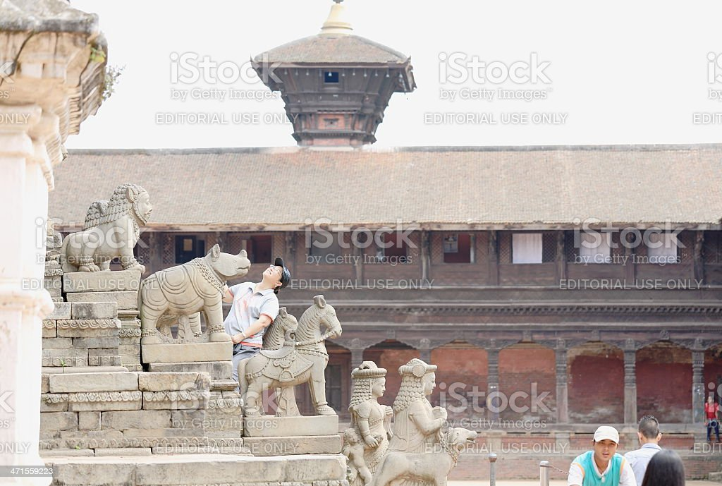 Touritsts in the staircase of Siddhi Lakshmi Temple-Bhaktapur-Nepal. 0266 royalty-free stock photo