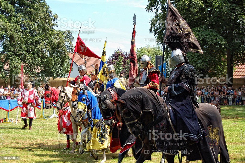 Tournament with knights and horse stock photo