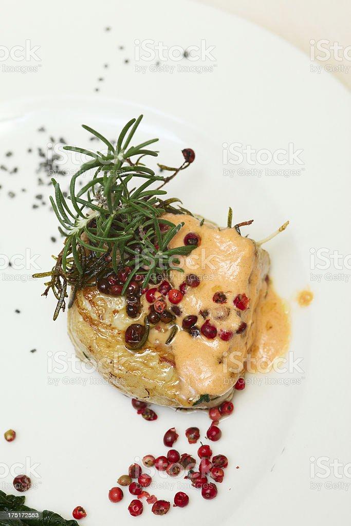 Tournedos seasoned with a yogurt and tomato sauce stock photo