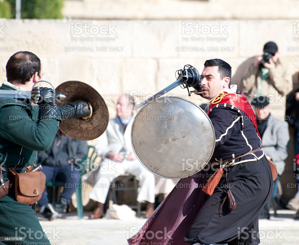 Tourney in the castle  St. Johns Cavalier, Malta stock photo