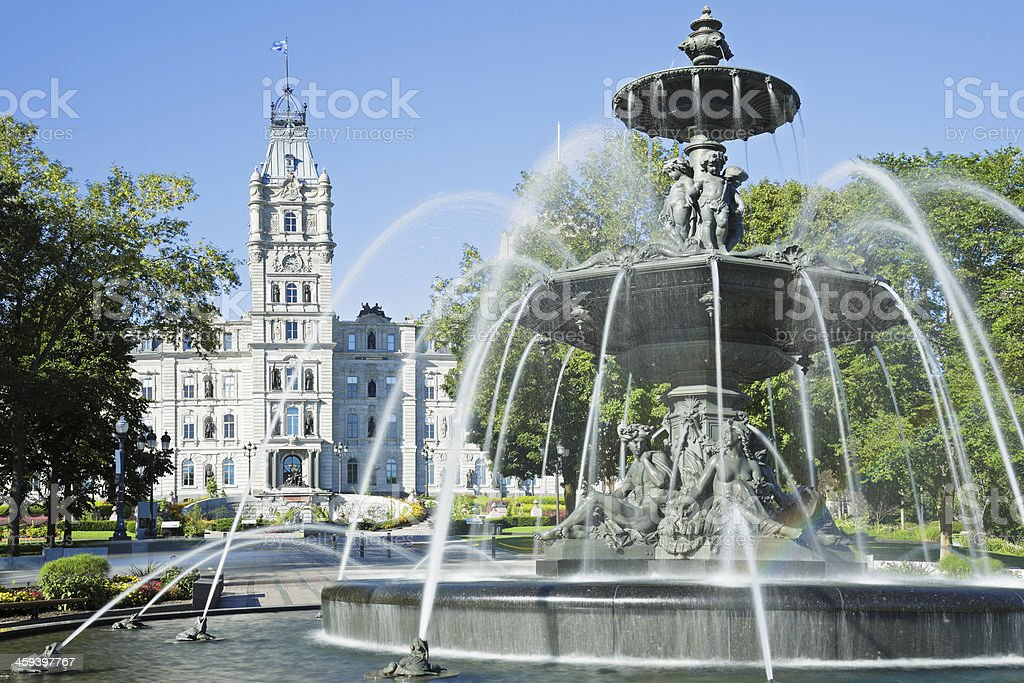 Tourny Fountain with the Quebec Parliament building in back stock photo