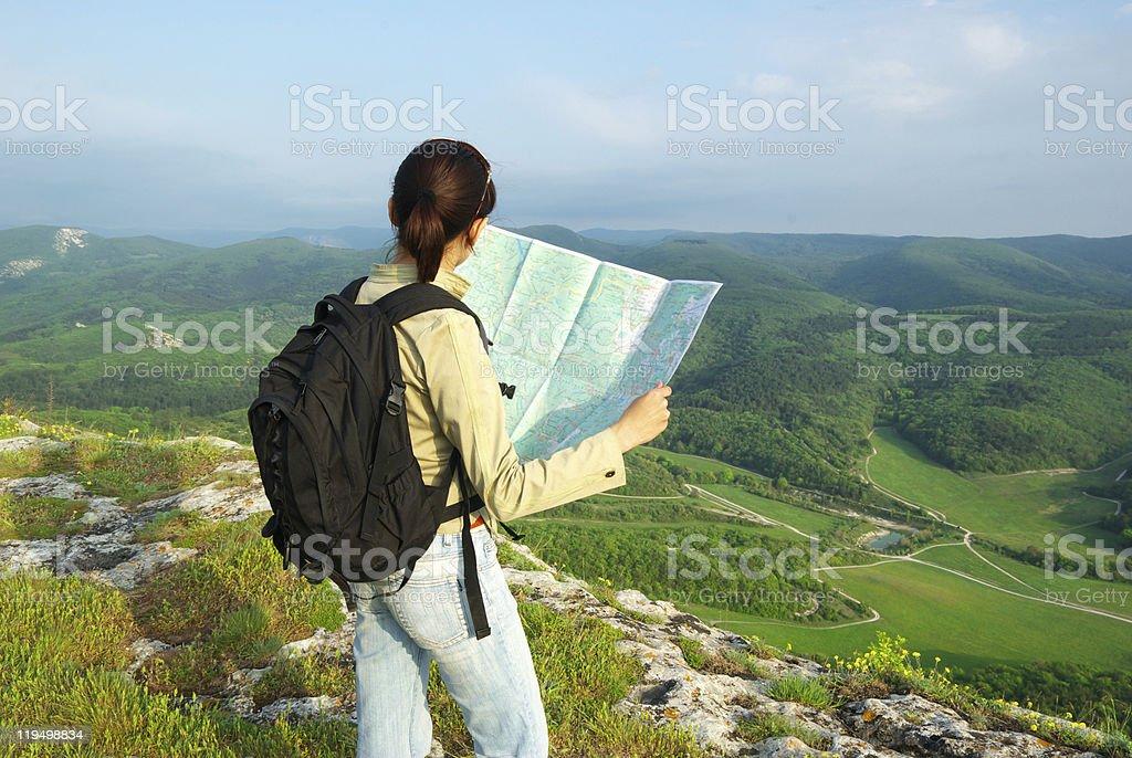 Toutist read the map royalty-free stock photo