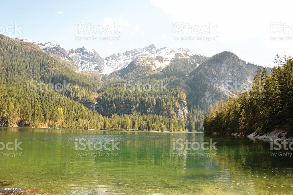 Tovel Lake, Val di Sole, Trento, Italy stock photo