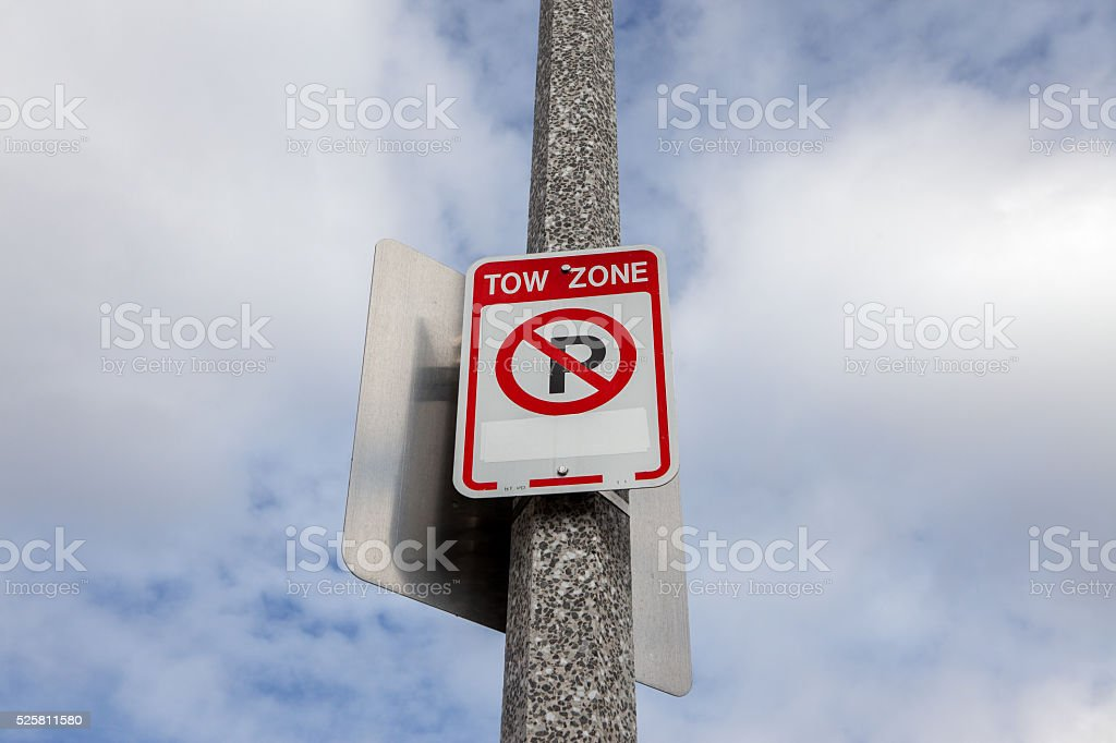Tow Away Zone Sign stock photo