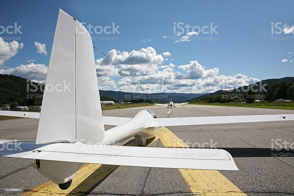Tow plane and glider ready for take off stock photo