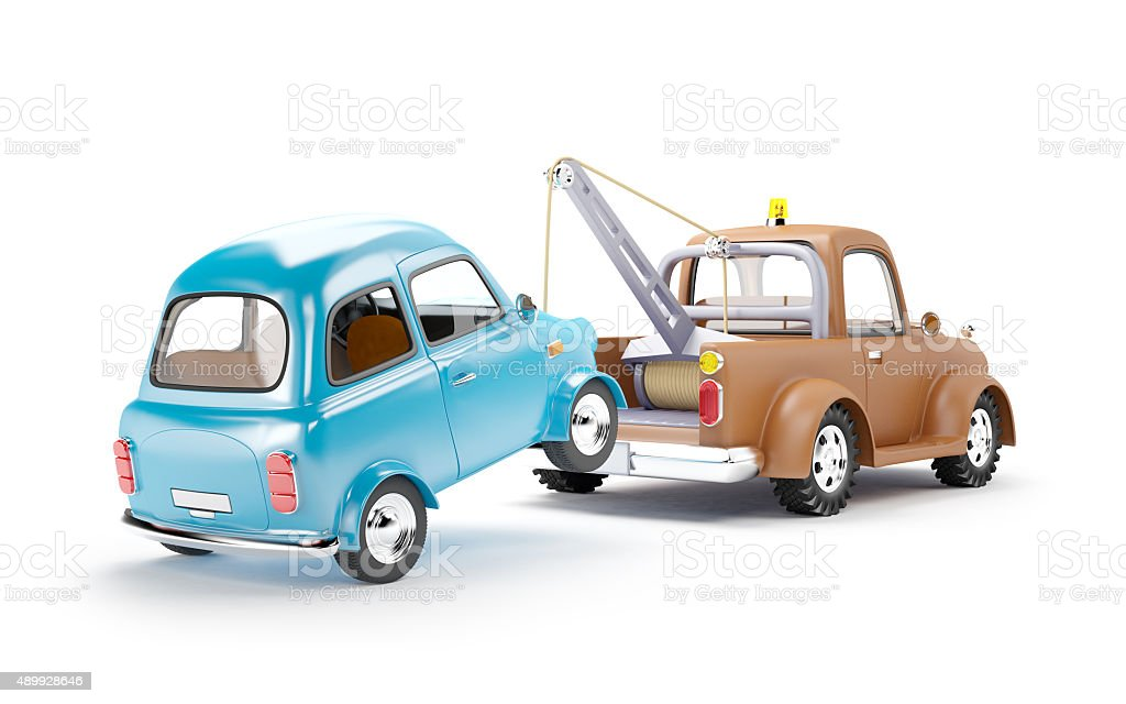 tow truck and car back view stock photo