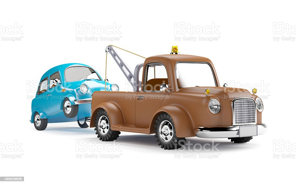 tow truck and car stock photo