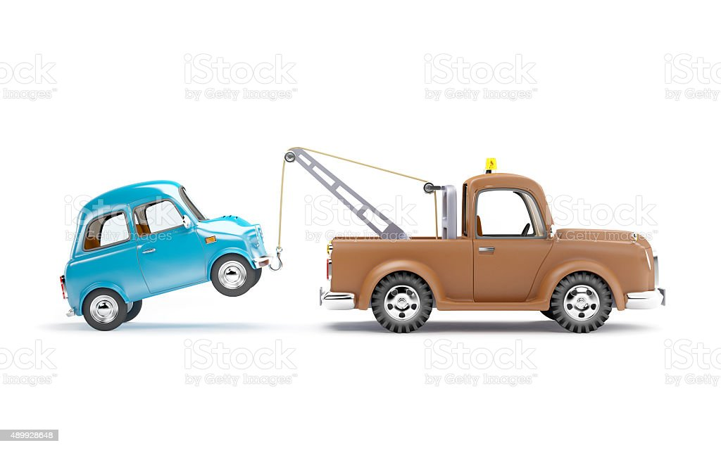 tow truck and car side view stock photo