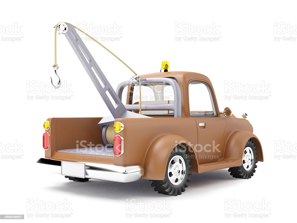 tow truck back view stock photo