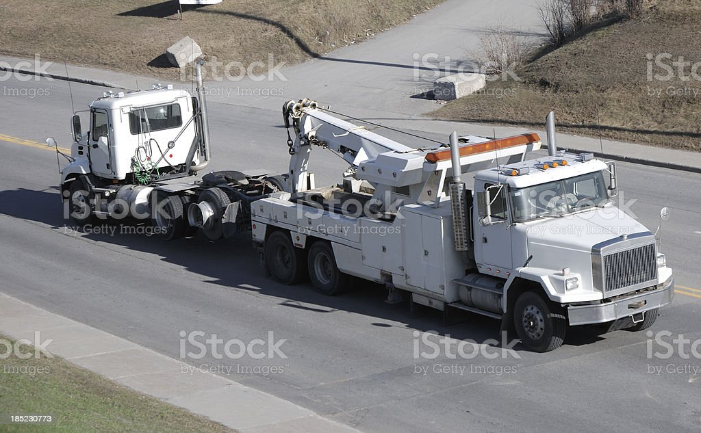 Tow truck for semi. stock photo