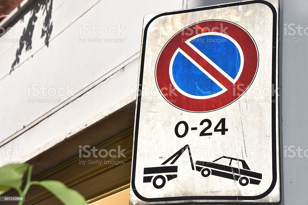 Tow zone sign stock photo