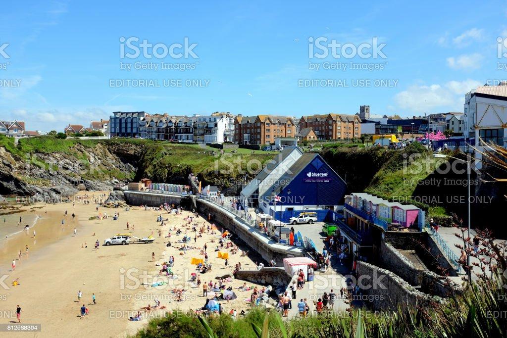 Towan beach, Newquay, Cornwall. stock photo