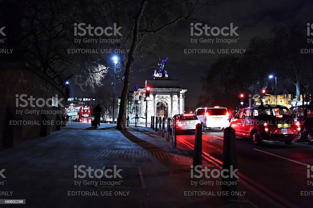 Towards Hyde Park Corner at night stock photo