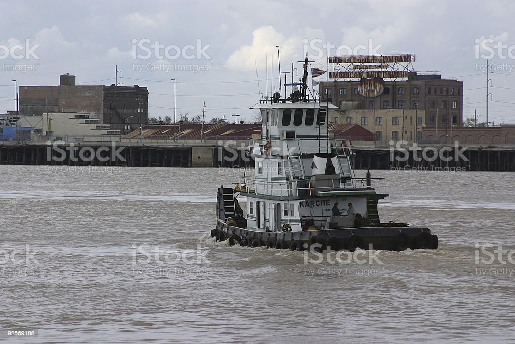 Towboat along the Mississippi River royalty-free stock photo