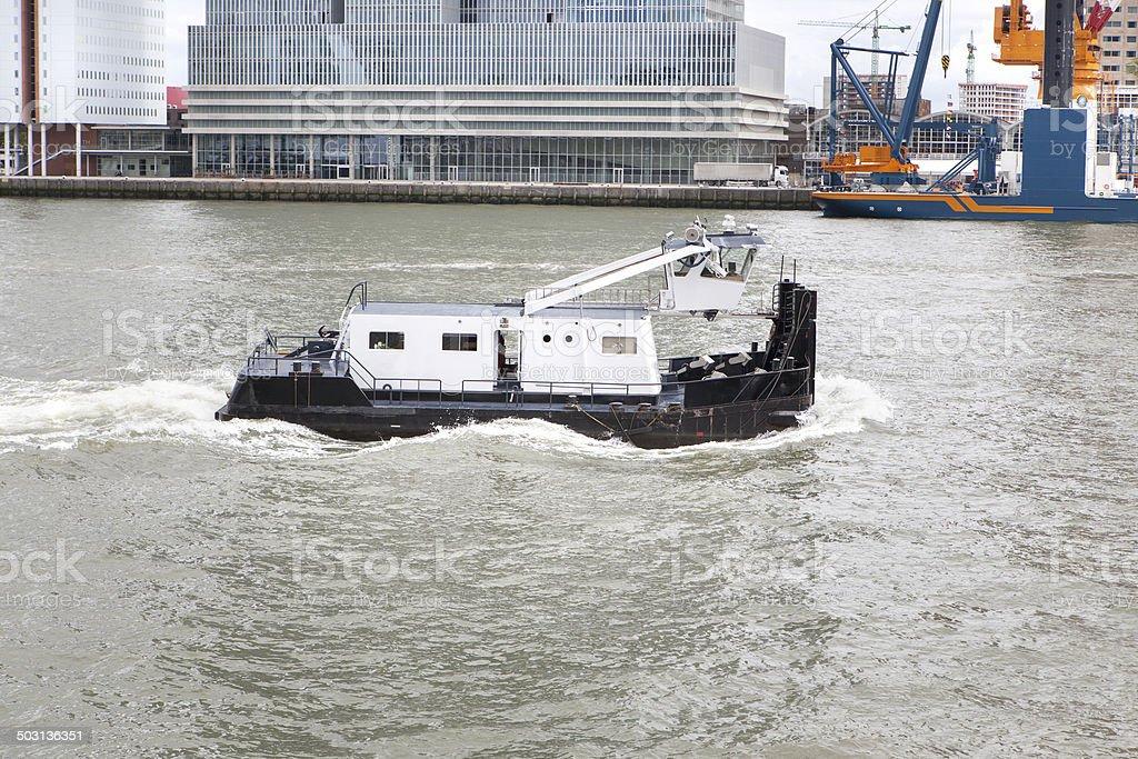 Towboat on River Maas, Port of Rotterdam stock photo