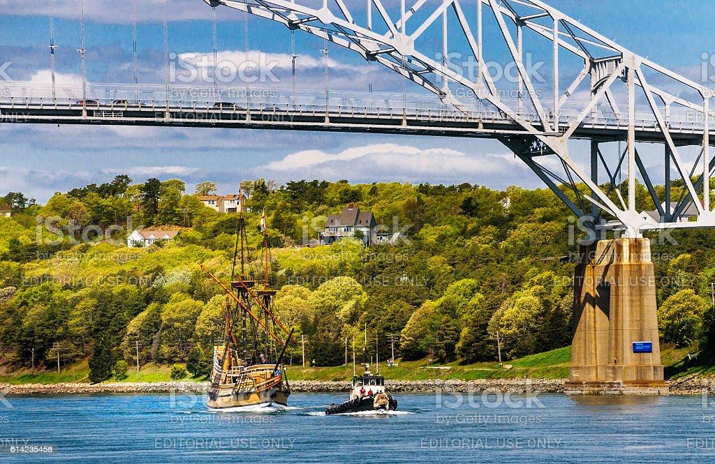 Towed Beneath the Bridge stock photo