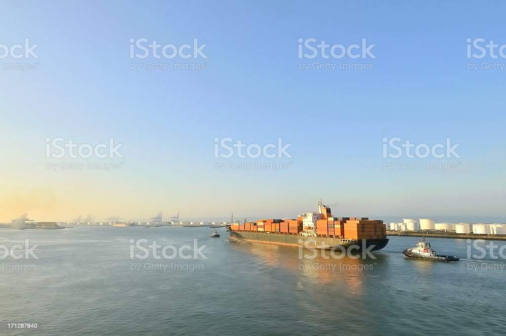 Towed Container Ship At Le Havre stock photo
