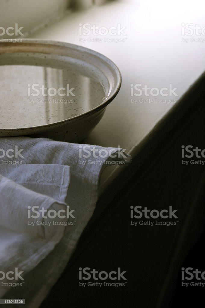 Towel and Basin royalty-free stock photo