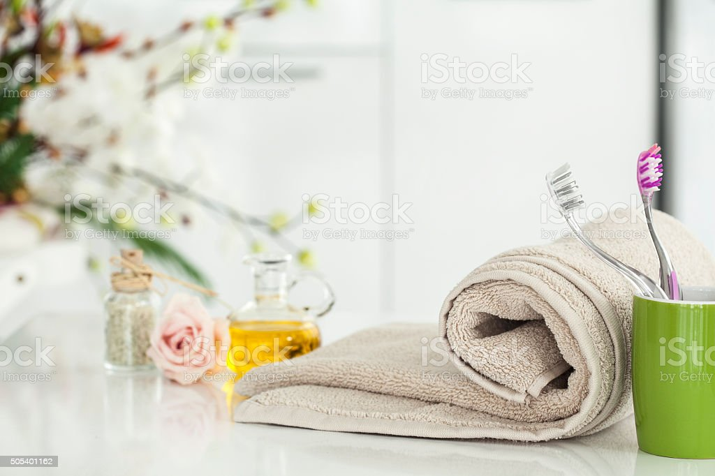 Towel and domestic bathroom stock photo