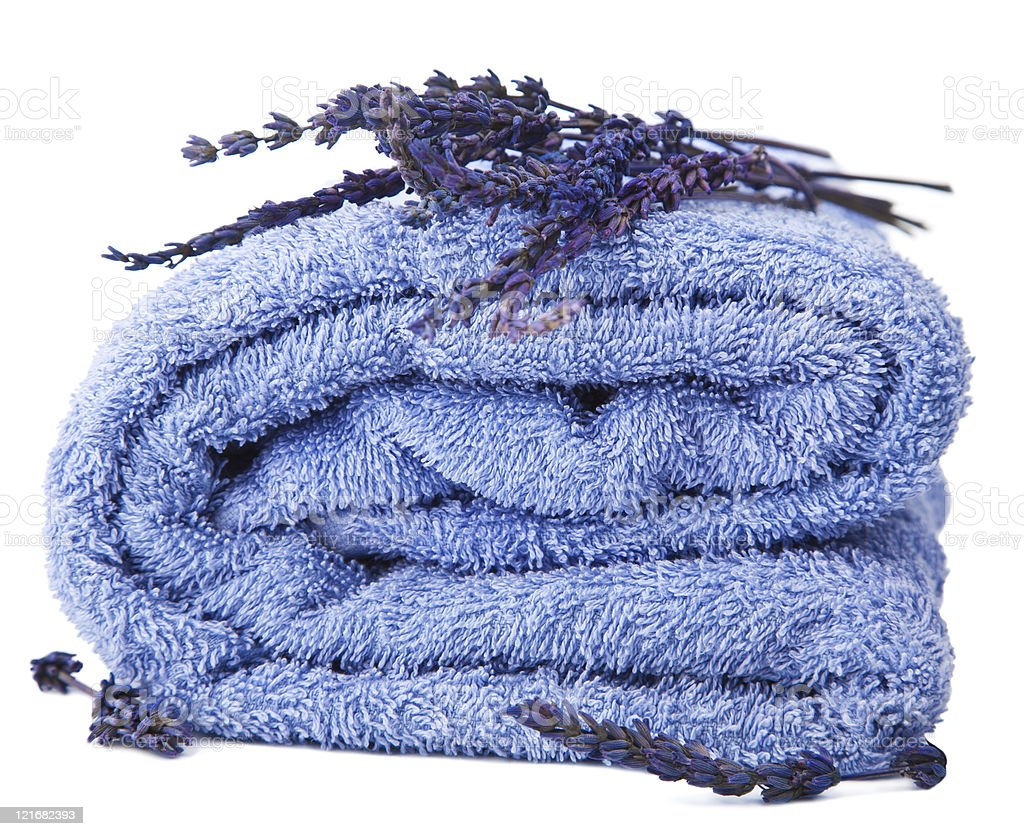 towel and lavender isolated stock photo