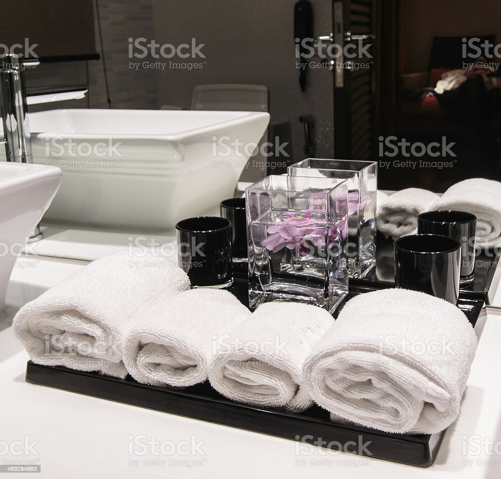 towel and orchids  toilet background royalty-free stock photo