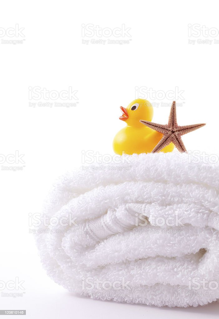 towel and rubber duck royalty-free stock photo