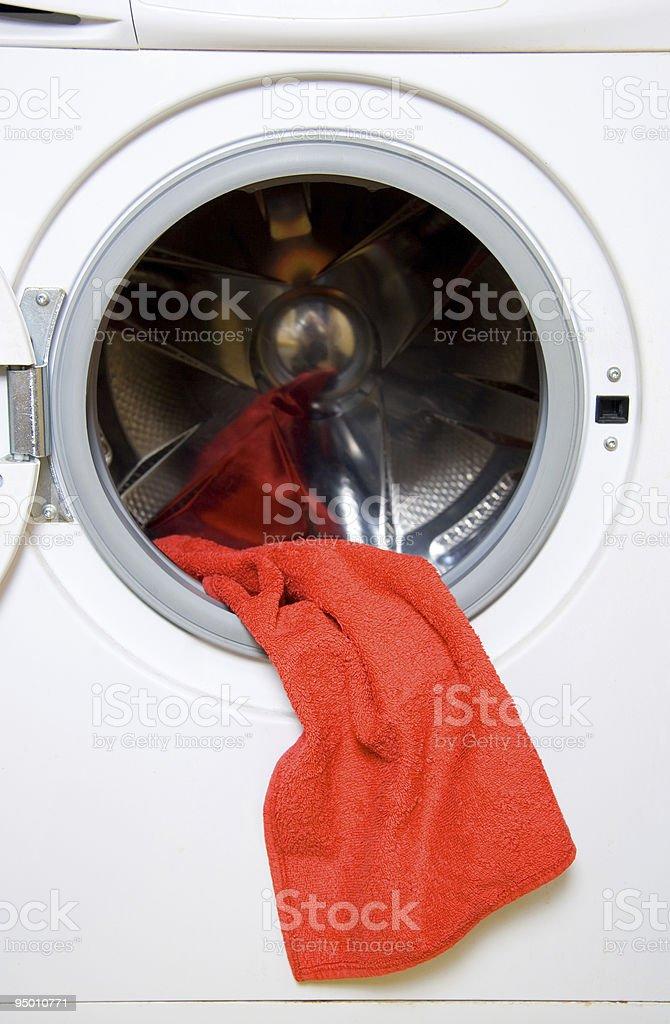 Towel and washing machine stock photo
