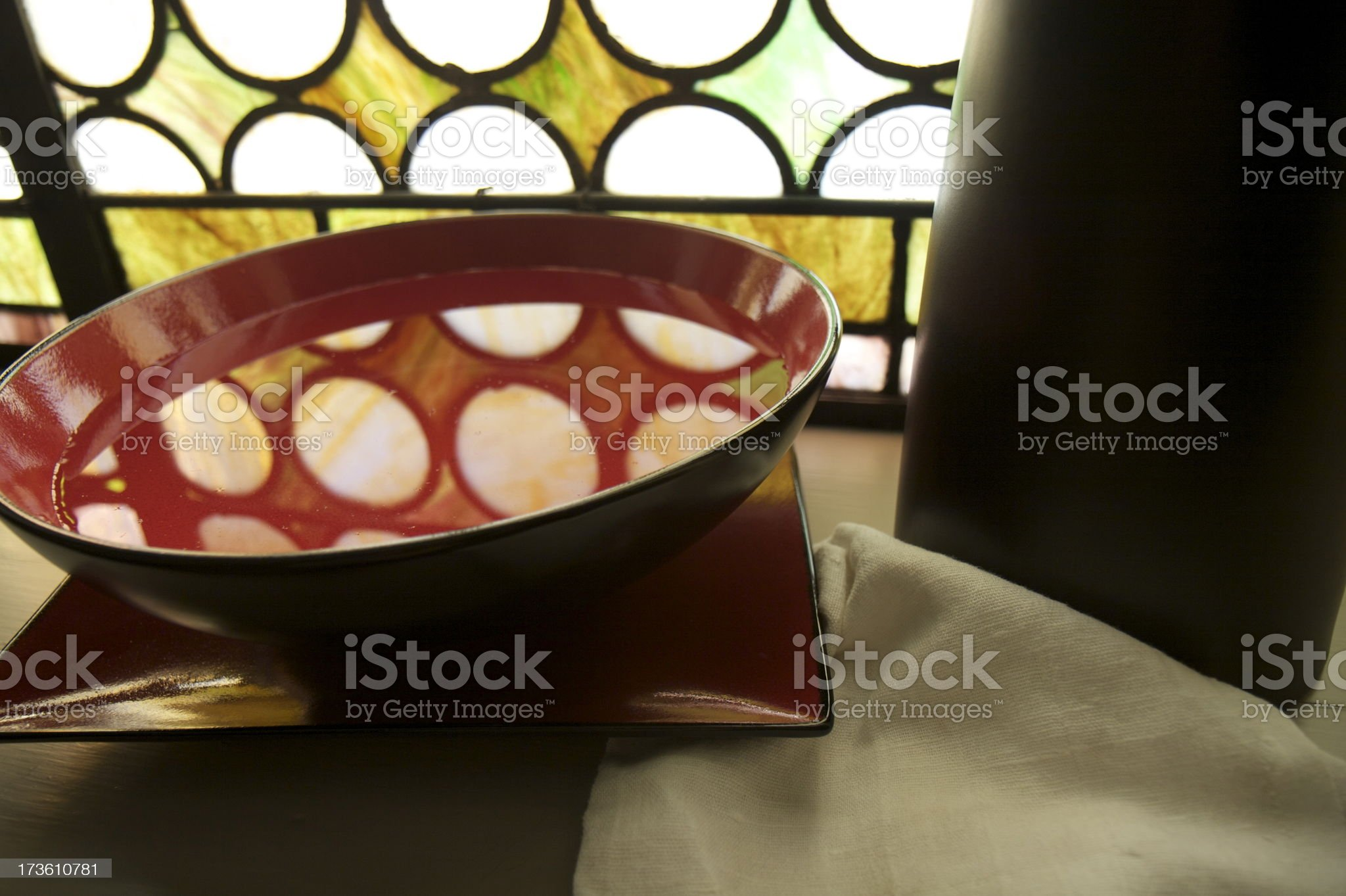 Towel, Basin, Stained Glass Window royalty-free stock photo